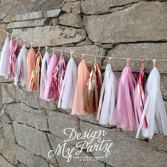 Pink Peach & Rose Gold Glam Tassel Garland by DesignMyPartyShop