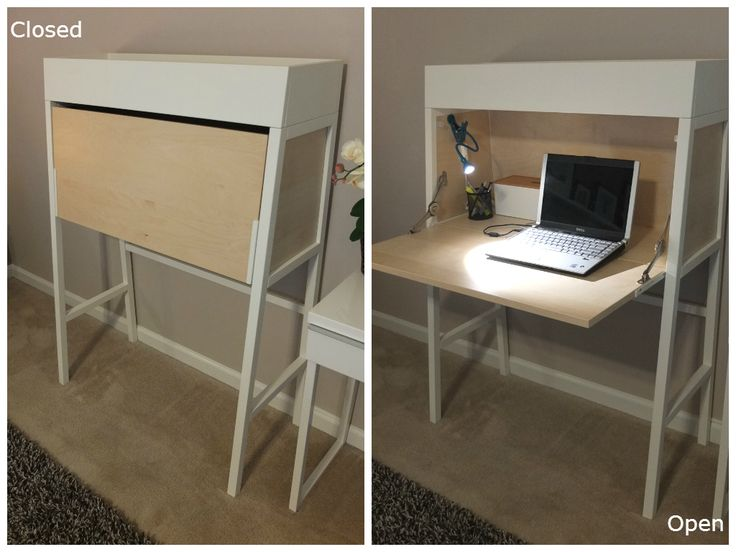 The IKEA PS secretary lets you work when you want, but hide work away when you're done. Its compact design and storage on top makes it a great solution, no matter the size of your space!