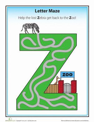 Preschool Offline Games Worksheets: Z Maze