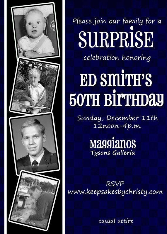 Custom Birthday Invitation 30th 40th 50th By Keepsakesbychristy 1095