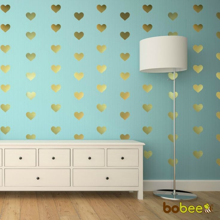It doesn't have to be Valentines Day to use these adorable heart wall decals. Create a beautiful home decoration with the Bobee Gold heart wall decals. Made in the USA, these stylish heart stickers ar