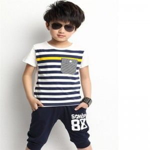 Handsome Boys Kids Striped Short-sleeve Pullover Set