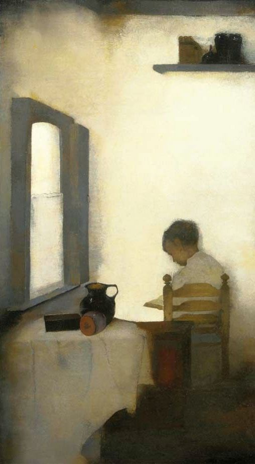 Interieur met lezende jongen, 1911 by Jan Mankes