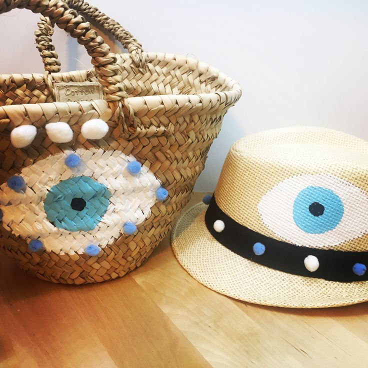 evileye handpainted baby hat& straw  basket by cottonprince.gr