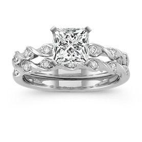Diamond Wedding Set with Princess Cut Diamond