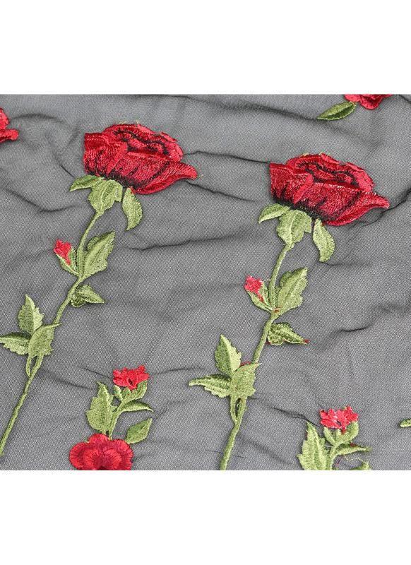 Sólo 6.23€, Nuevo mujeres atractivas Rose bordado de malla transparente camiseta cuello redondo manga corta Top Negro- Chicuu.com