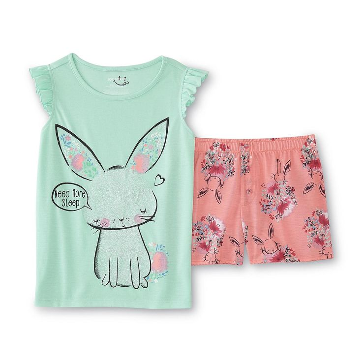 Joe Boxer Girl's Pajama Shirt & Shorts - Bunny & Floral - Kids - Kids' Clothing - Girls' Clothing - Girls' Sleepwear - Girls' Pajama Sets