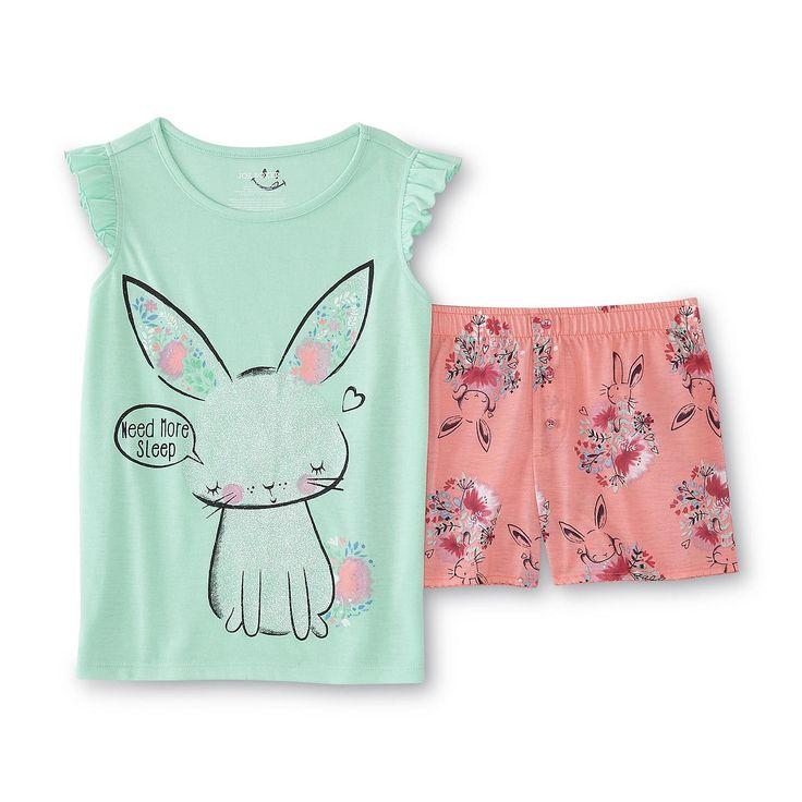 Joe Boxer Girl's Pajama Shirt & Shorts - Bunny & Floral - Kids - Kids' Clothing - Girls' Clothing - Girls' Sleepwear - Girls' Pajama Sets