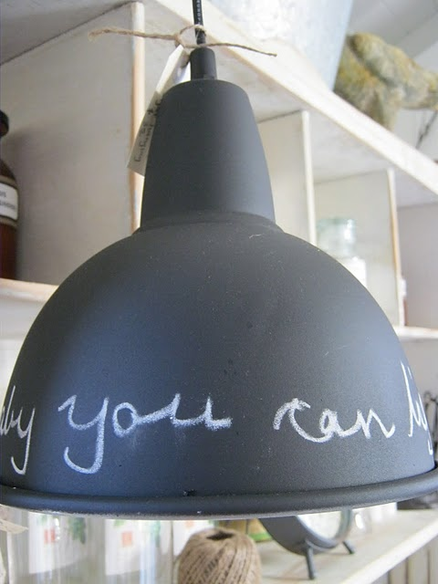 lamp painted with blackboard paint