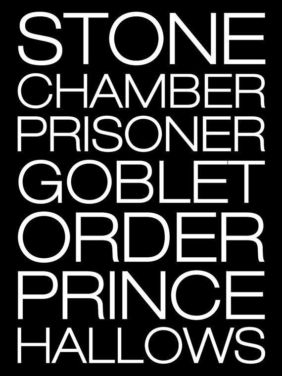 Simplistic Harry Potter Book Titles Poster 16x20