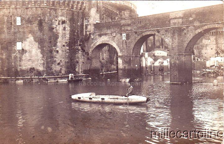 Foto storiche di Roma - Castel Sant'Angelo - Inondazione del 1915