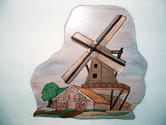 Windmill Wall Decor Wood Sculpture by Galleryatkingston on Etsy, $65.00