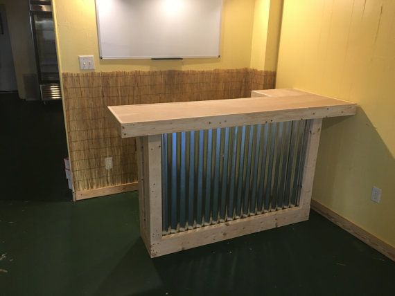 6'  rustic corrugated metal mini L shaped dry bar, reception desk, sales counter