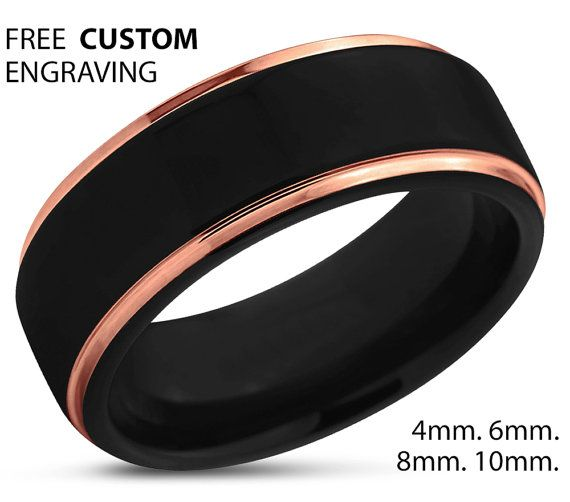 Black Tungsten Ring Rose Gold Wedding Band Ring by BellyssaJewelry