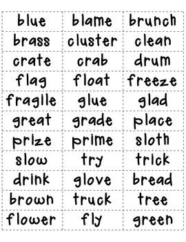 FREE! Consonant Blends Sort for L, R, S