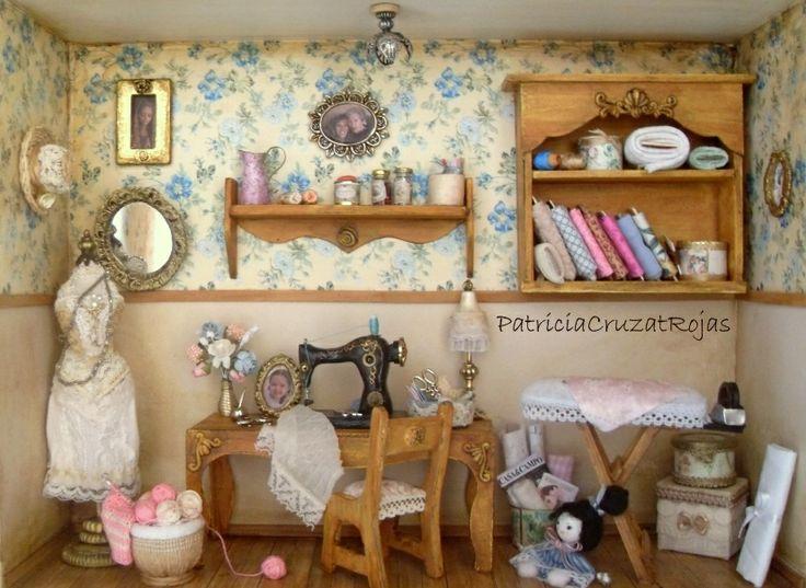 Cuadro Cuarto de Costura con miniaturas, hecho por encargo. Interior.