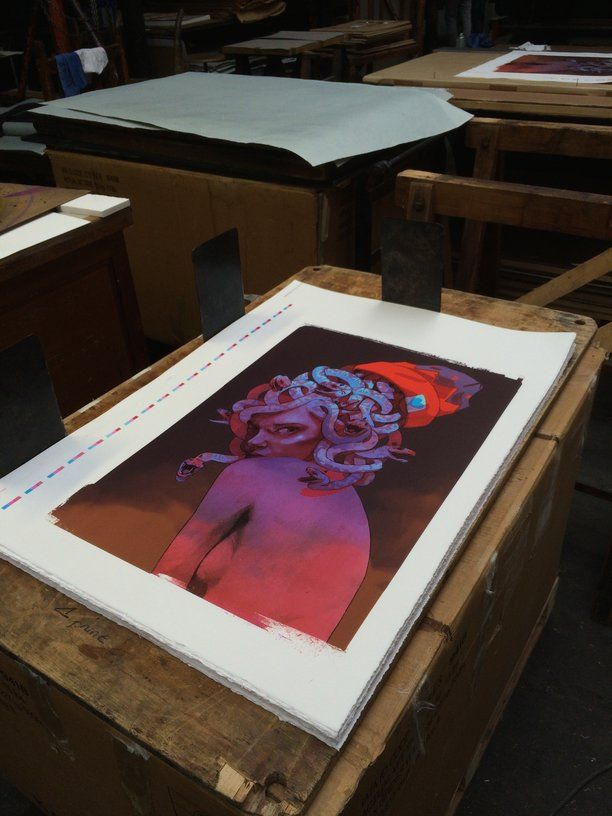 """""""Medusa"""" lithograph by Bezt, getting ready to be hand cut in our printing house Idem, in Paris. #bezt #medusa #lithograph #printthemall #artprinting #contemporaryart"""