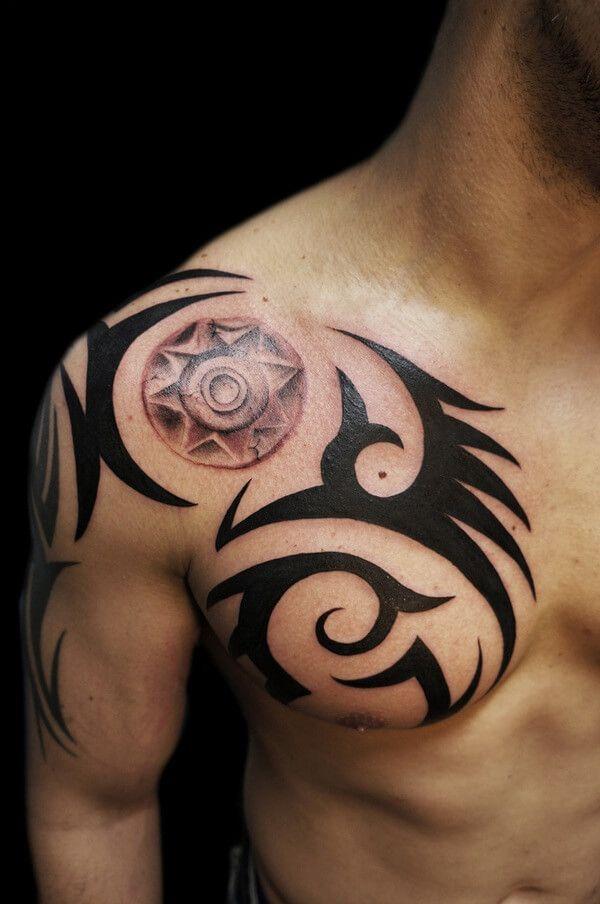 Tribal Tattoo Designs & Ideas on Shoulder Chest