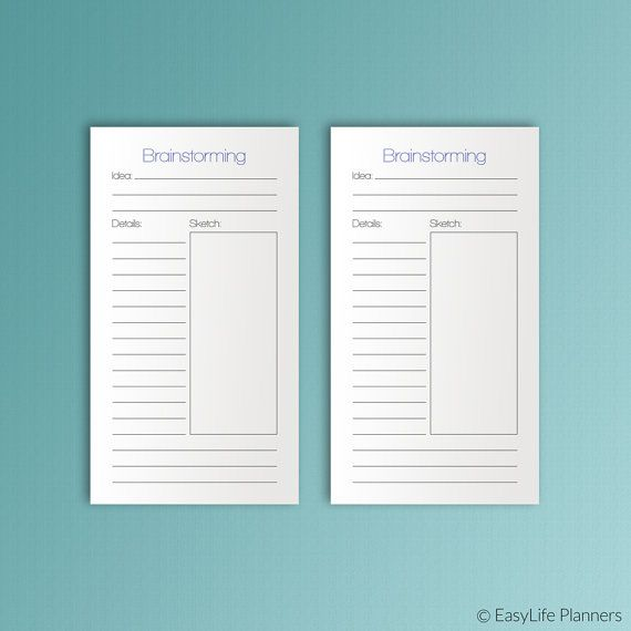 """Find a conclusion for your problem by writing down a list of ideas in this Brainstorming Personal Size sheet. These printable inserts are 3.7""""x6.7"""" and will fit any personal sized planner (Filofax, Kikki-K (medium), Kate Spade, Color Crush Planner).  ✽ DISCOUNTS  💝 15% off your order of $10: 15DISCOUNT  💝 20% off your order of $20: 20DISCOUNT  💝 25% off your order of $30 or more: 25DISCOUNT   ✽ INSTANT DOWNLOAD:   The documents will be available for download within a few minutes of…"""