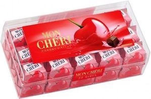 From one of the most famous chocolate companies and a French favorite, this product is a lovely box of Mon Chéri chocolates, which are delicious red cherries swimming in a cherry liqueur from Portugal, covered in a delicious dark chocolate.