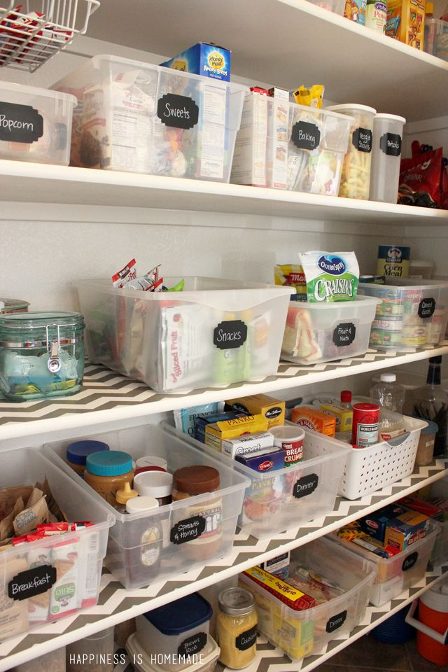 Organized Pantry Bins with Chalkboard Labels ** Beautiful. Much better than decanting into lots of containers--organized with so much less work.