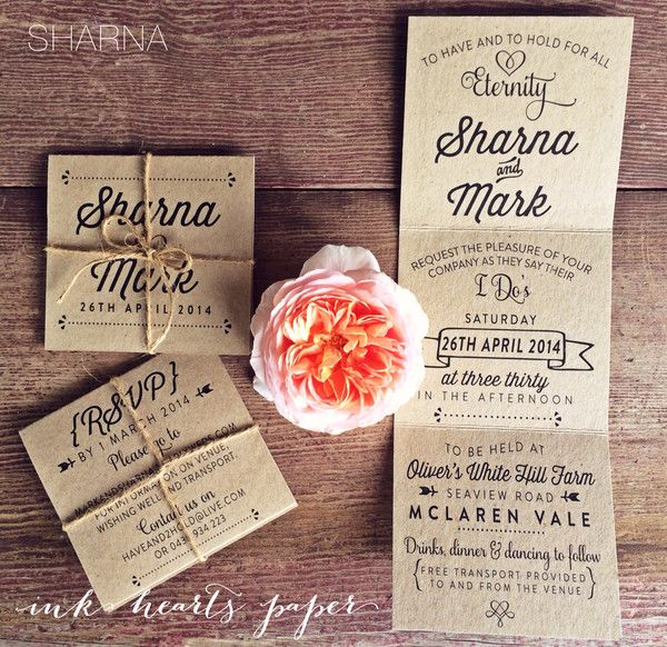 recycled kraft rustic tri fold trifold wedding invitation with twine