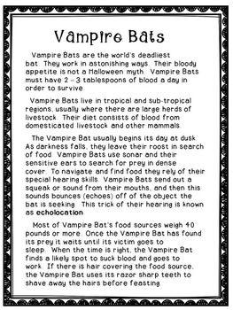 FREE VAMPIRE BATS - Reading Comprehension Activity - #education