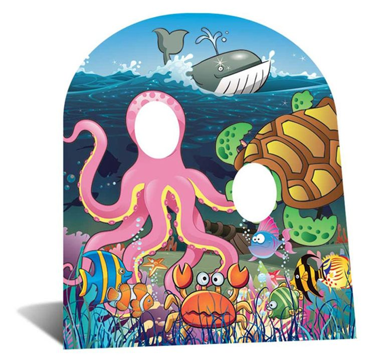 Under The Sea Stand In Child; Material:Cardboard This Lifesize Cutout has fold out strut to the rear which means its entirely self supporting.