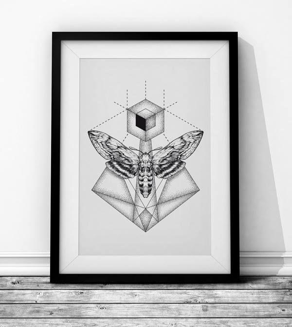 Moth - Wieprz Design Studio. #butterfly #moth #sketch #geometry #poster