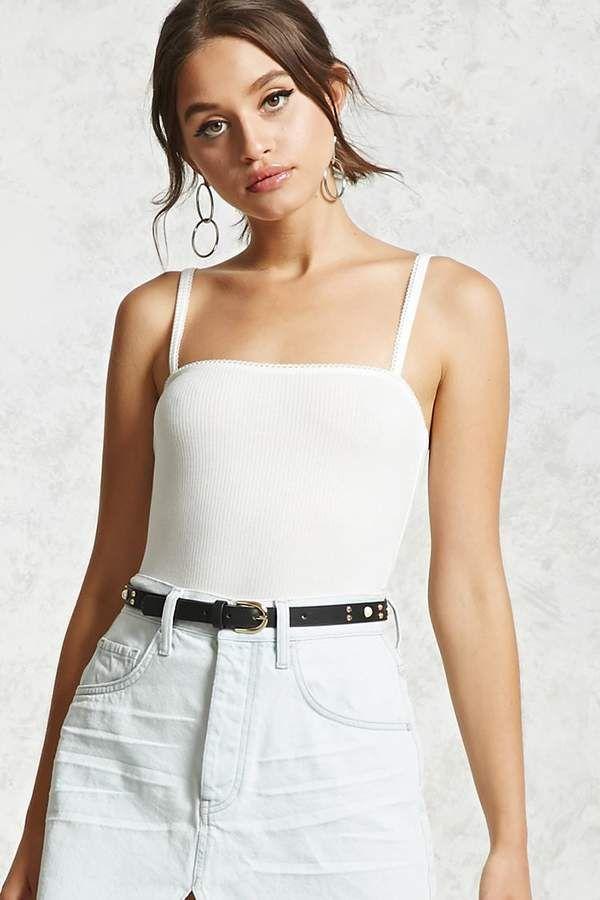 05e863457f Forever 21 Ribbed Knit Cami Bodysuit