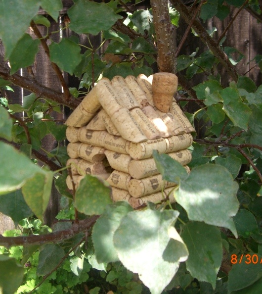"Wine Cork Birdhouse (and more) ~ I think I may need to learn to ""whittle""."