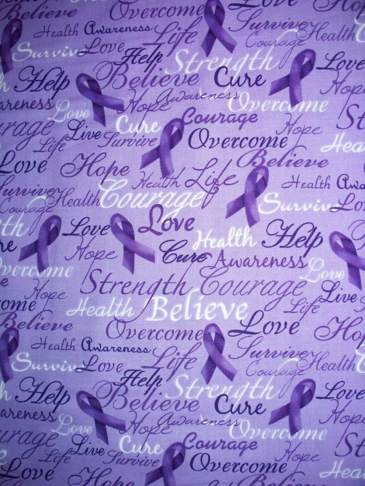 breast cancer awareness fabric   Purple Breast Cancer Relay For Life Words Cotton by scizzors