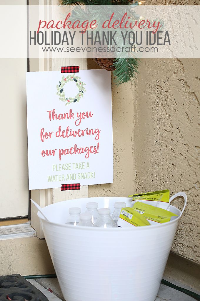 Leave a bucket of snacks and water out for Amazon, Fed Ex, USPS, UPS delivery people during the holidays! Free printable sign.