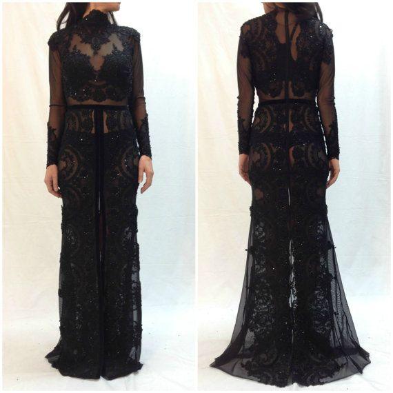Long black lace maxi dress