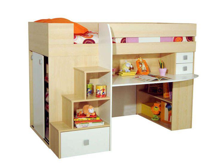 Lit 90 cm surélevé combiné CASTELLO coloris érable/ blanc - Vente de Lit Enfant - Conforama