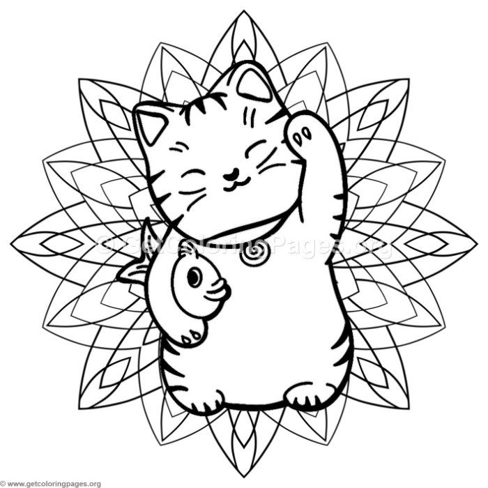 Free Download Lucky Cat Mandala Coloring Pages Coloring