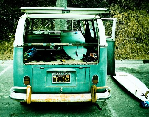 Let's play hooky today. We'll find some waves and ride them 'til the sun goes down. <3: Buses, Cute Vans, Campers, Dreams, Beaches Hut, Vw Bus, Roads Trips, Vwbus, Vw Vans