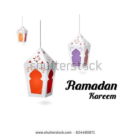 Ramadan Kareem,  lantern design with paper cut style