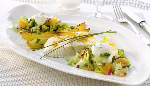 Kveite med frisk salat og pepperrotkrem