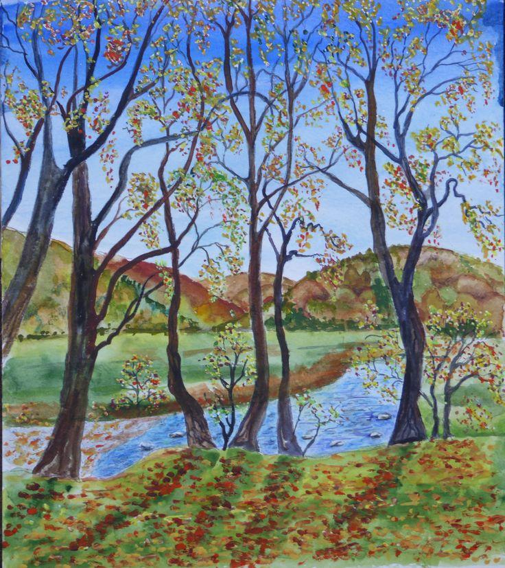 Autumn at Dinas Bird Reserve; watercolour by Gorica Bulcock