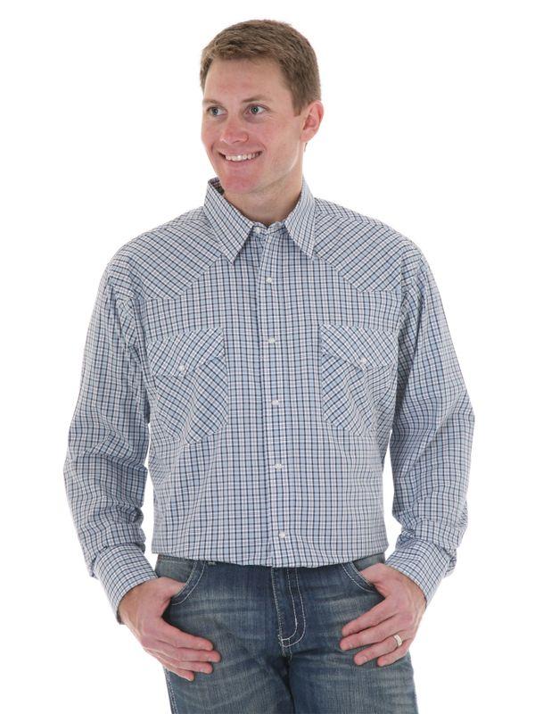 Mens Wrangler Long Sleeve Blue/White Plaid Shirt MWR068M