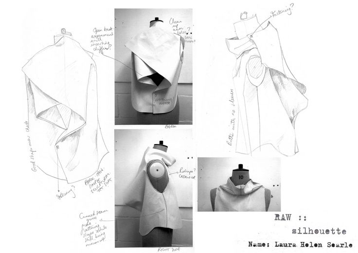 Fashion Portfolio - fashion design sketches with draping & garment structure development; fashion sketchbook // Laura Helen Searle
