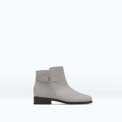 ZARA - KIDS - COMBINED LEATHER ANKLE BOOTS