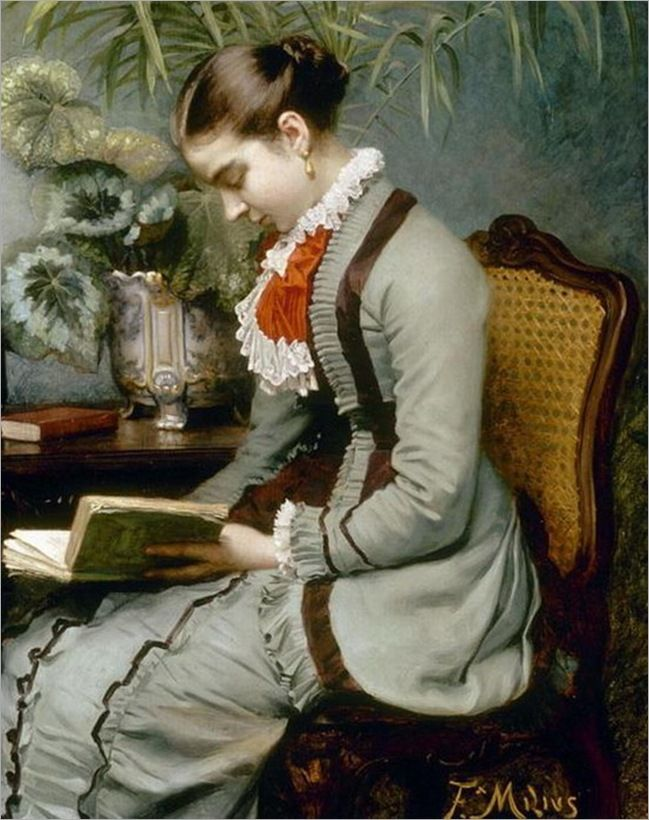 """An Afternoon's Reading by Félix Augustin Milius (1843-1894). """"Summer afternoon, summer afternoon; to me those have always been the two most beautiful words in the English language."""" — Henry James quotes (American expatriate writer 1843-1916)."""