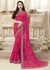 Pink Color Gerogette Party Wear Sarees : Panima Collection YF-64056