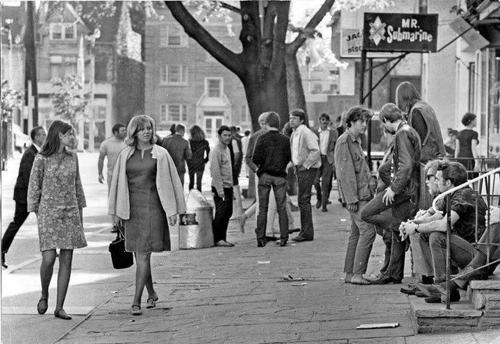 Nowadays it's full of fashion boutiques and condos, but Yorkville in the '60s was full of folkies and cafes. The people living there didn't like how they were taking over the neighbourhood. Some of the greatest Canadian singer/songwriters got their starts there, from Neil Young to Joni Mitchell. This is Yorkville circa 1968, via Vintage Toronto on Facebook.