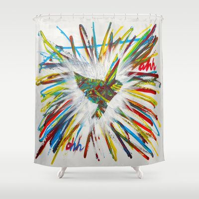 ThePeaceBombs - JJT Shower Curtain by ThePeaceBombers - $68.00Part of the world know PeaceBomb Team - Join it now! Acrylics and ink on recycle quality paper Handwritten text - Japanese book paper Created by the Founder of The PeaceBomb Team. Join it now!  #decor #home #shower #bathroom #curtains #homes #peace #art #thepeacebomb #colorful #colors