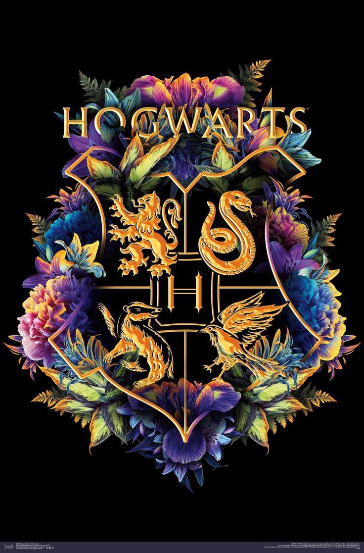 #harrypotter #hogwarts #posters #gryffindor #slytherin #hufflepuff #ravenclaw #floral #walldecor
