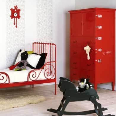 minnen bed from ikea painted red and isnu0027t the wardrobe with the height chart just adorable maybe i get an old wardrobe and paint it hot pink with a