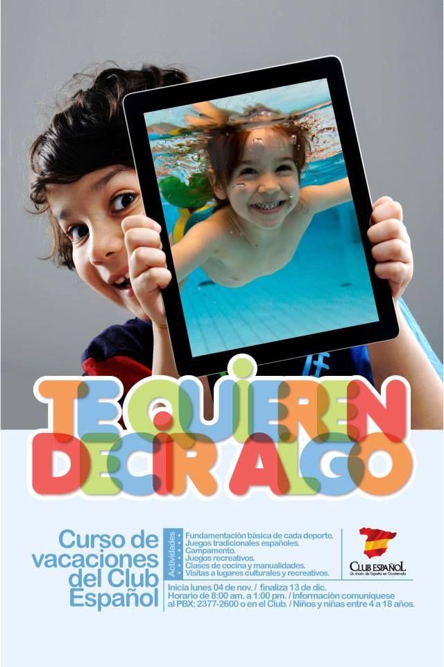 Afiche para El Centro Español 2013. Cursos de Natación